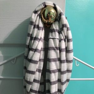 Grey and white striped infinity scarf!